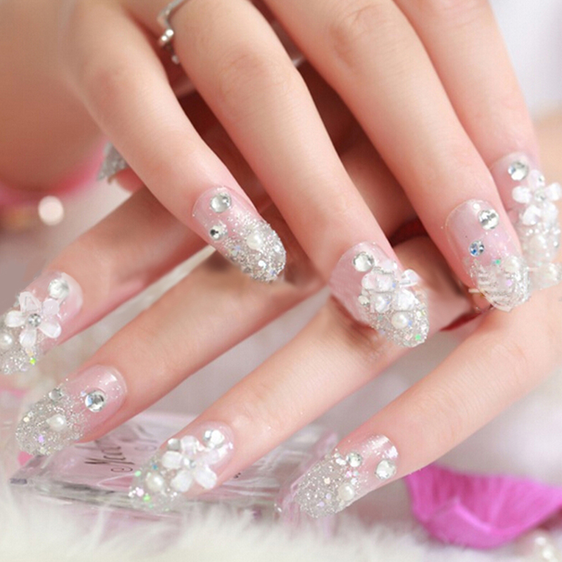 3D False Artificial Fake Nails Tips French Stud Finger Stickers ...