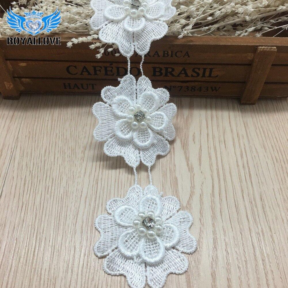 Black white lace floral wedding motif embroidery applique sew cute dress trim MW