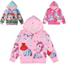 Autumn new unicorn party cartoon girl zipper shirt Lol casual Kids Jacket For Girls Outerwear Zip Sweatshirt Hooded Coat clothes все цены