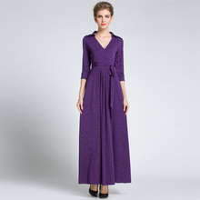 Purple Womens Elegant Vintage Wrap Belted Tunic Slim Business Party Maxi Dress Plus Sizes Available plus bardot embroidery belted dress