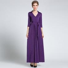 Purple Womens Elegant Vintage Wrap Belted Tunic Slim Business Party Maxi Dress Plus Sizes Available