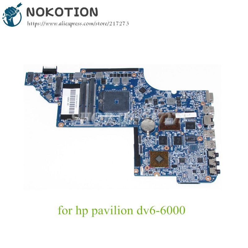 NOKOTION 650854-001 Laptop Motherboard For Hp Pavilion DV6 DV6-6000 Main Board Socket fs1 DDR3 HD6750 1GB Discrete Graphics nokotion 650852 001 for hp dv6 dv6 6000 laptop motherboard ddr3 socket fs1 high quanlity tested
