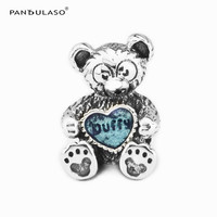 2017 Winter New Bear With Blue Or Red Heart Beads For European Bracelets Silver 925 Sterling