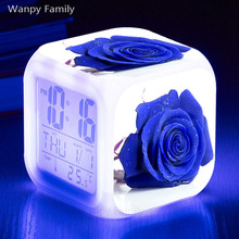 Blue rose flower Alarm Clock Glowing LED Color Change Digital Kids room Multi-fonction Electronic Watches