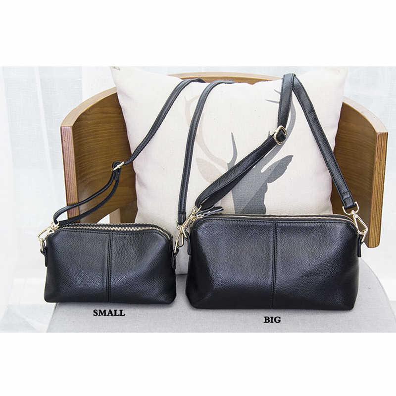 100% de cuero genuino de alta calidad bolso de mano estilo moda tendencia mujer bolso de mensajero bolsa de ocio de doble propósito #38177