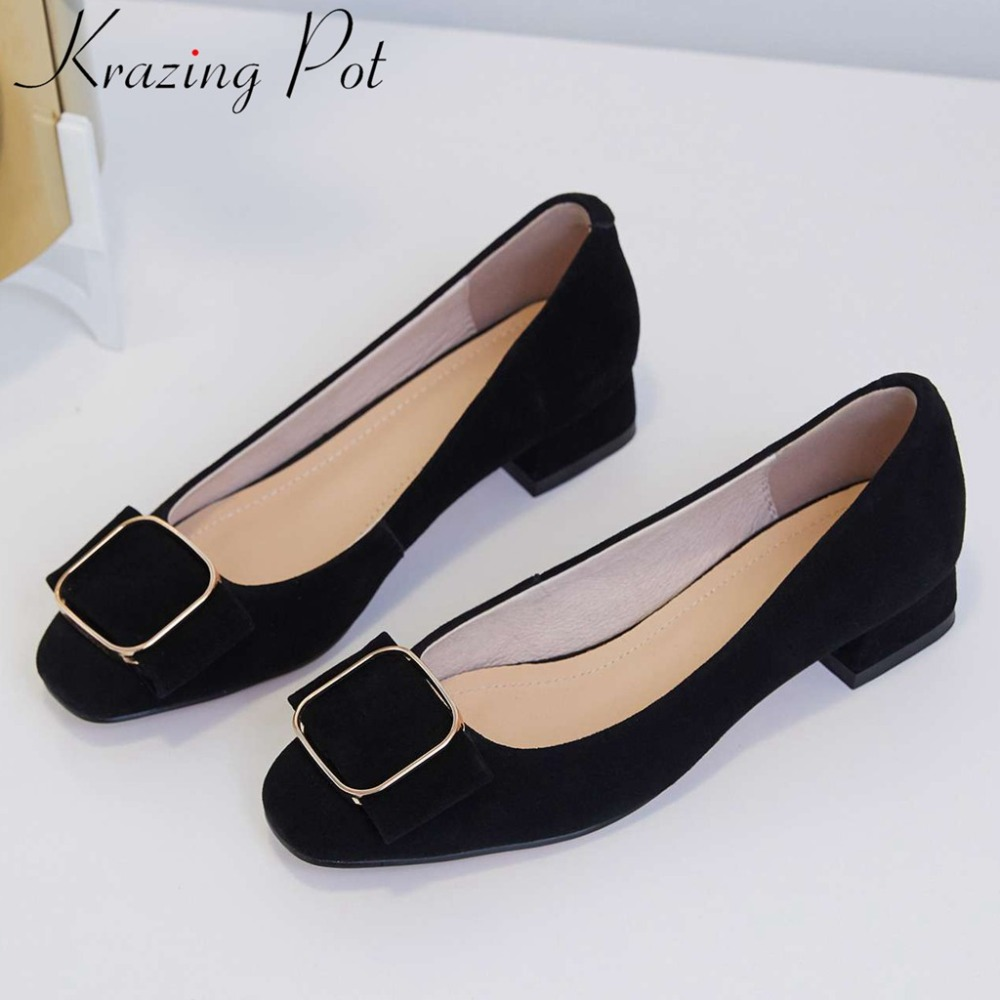 Krazing Pot luxury genuine leather low heels slip on classic square toe Hollywood movie star metal