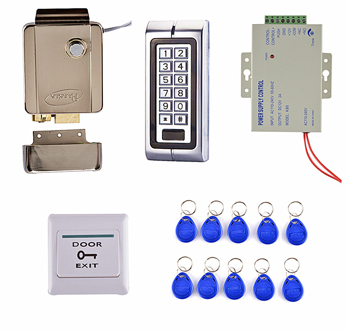 Door Switch Button + K2 Metal Access Control System Kit Set + Electric Door Lock +10 RFID Card diy lock system metal keypadl k2 electric control lock 3a power supply exit button 10pcs key cards wireless remote control