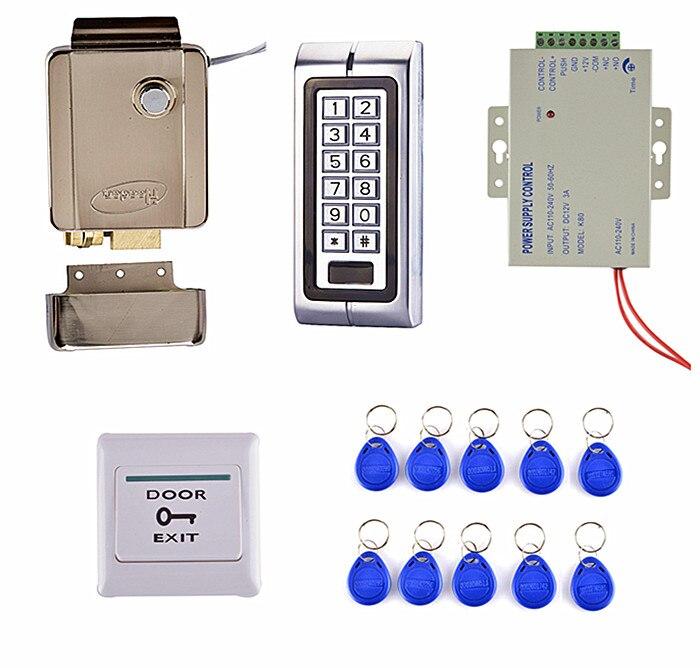 Door Switch Button + K2 Metal Access Control System Kit Set + Electric Door Lock +10 RFID Card metal rfid em card reader ip68 waterproof metal standalone door lock access control system with keypad 2000 card users capacity