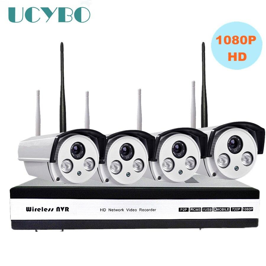 где купить 4ch 1080P HD Wireless IP Camera NVR CCTV security System 2mp wi-fi NVR kit Outdoor IR Wifi P2P IP Camera surveillance nvr system по лучшей цене