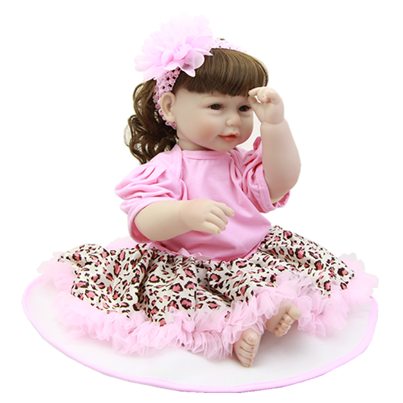 Real Looking Reborn Baby Dolls Cloth Body 20 Inch Silicone Vinyl Alive Princess Babies With Curved Hair Kids Birthday Xmas Gift
