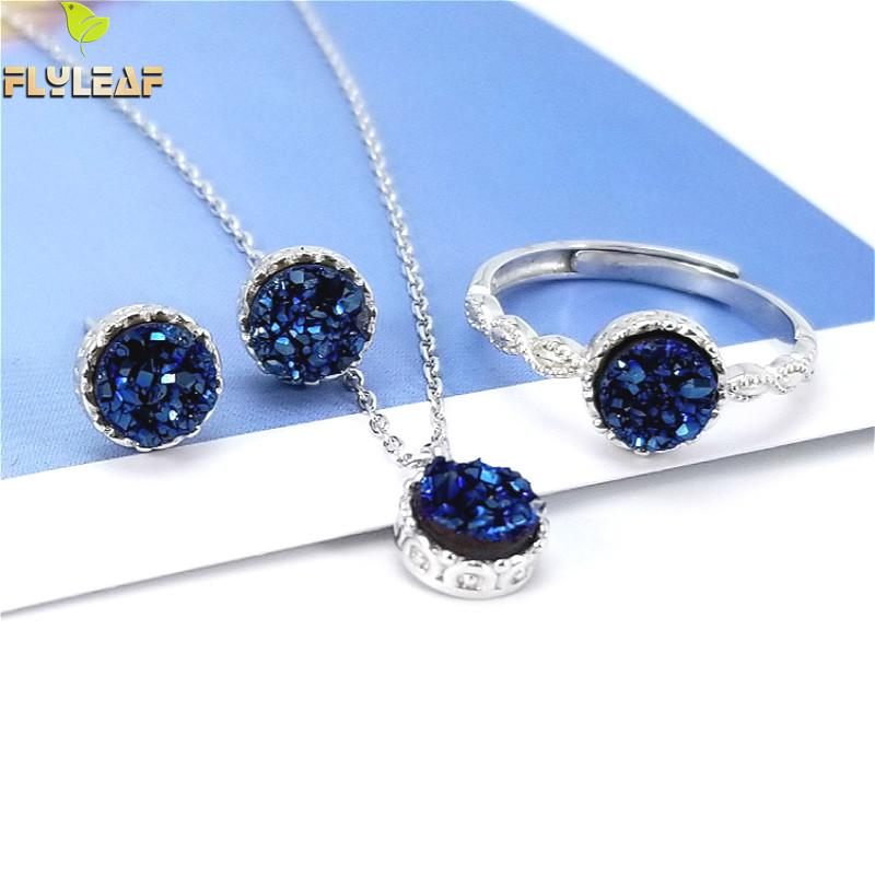 Flyleaf 925 Sterling Silver Earrings For Women Necklaces & Pendants High Quality Agate Spar Party Wedding Ring Fine Jewelry Sets