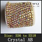 Crystal AB Rhinestone Chain Golden Base mz004