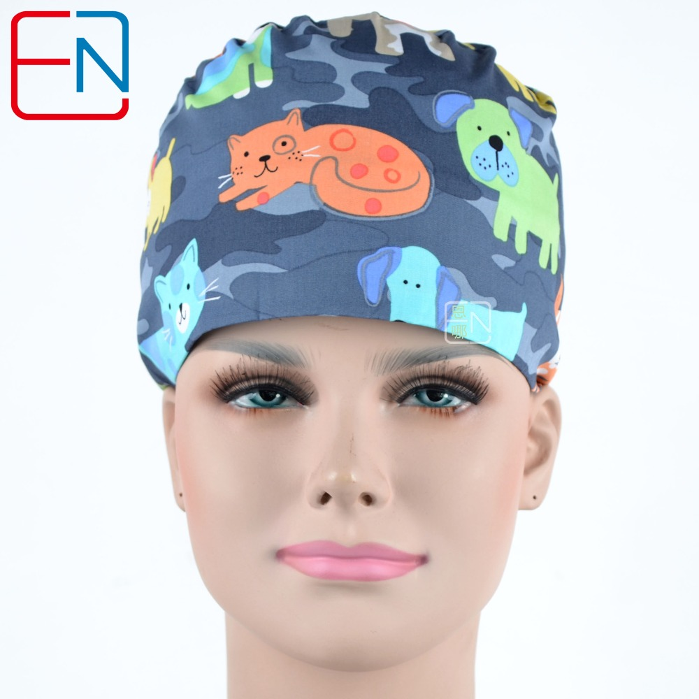 Hennar Surgical Scrub Caps 100% Cotton Comfortable Breathable New Caps Masks Adjustable Medical Surgical Printed Operation Caps