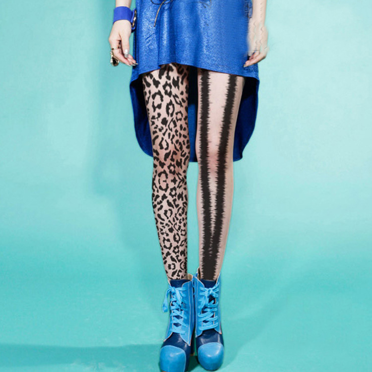 Mandarin Duck Leopard Silk Stockings With Asymmetrical Twinkling Pantyhose On Left And Right Legs