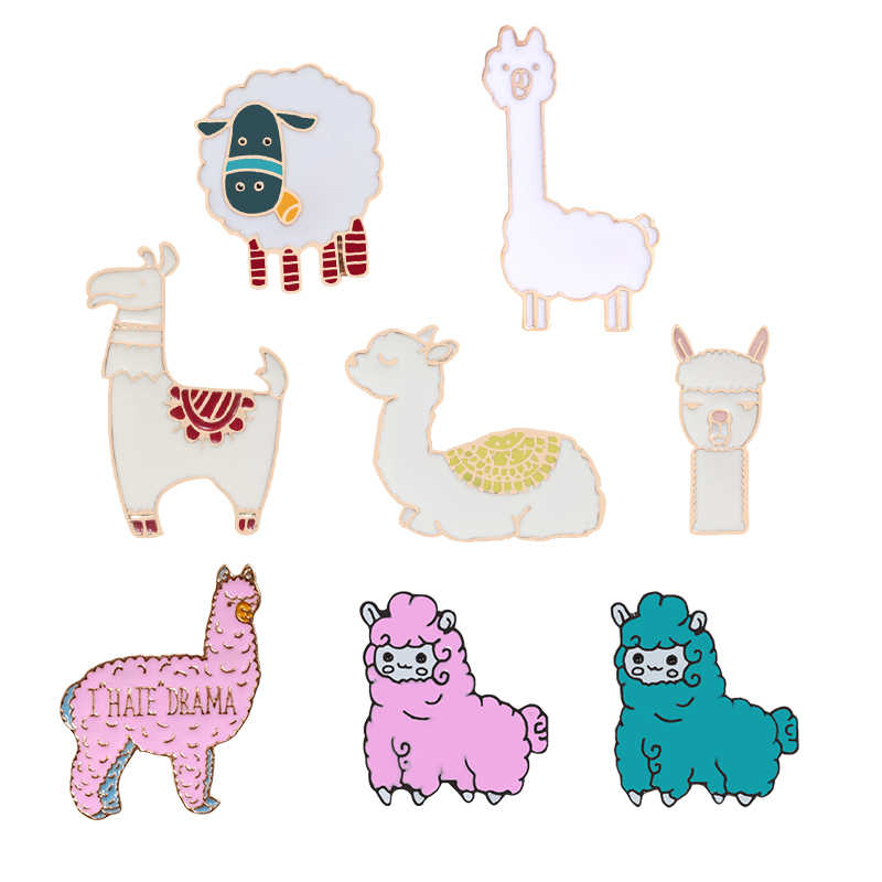 Leuke Kawaii Alpaca Schapen Lama Pins Cartoon Animal Broches Metalen Badges Jassen Revers Pin Sieraden Collectie Cadeau voor kid Meisjes