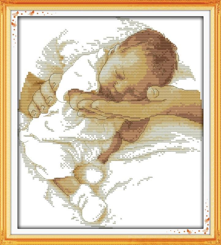 Starostlivost Baby Counted Stitch 11CT Tištěná 14CT DMC Cross Stitch Set DIY Čínská bavlna Cross-Stitch Kit Vyšívání Vyšívání