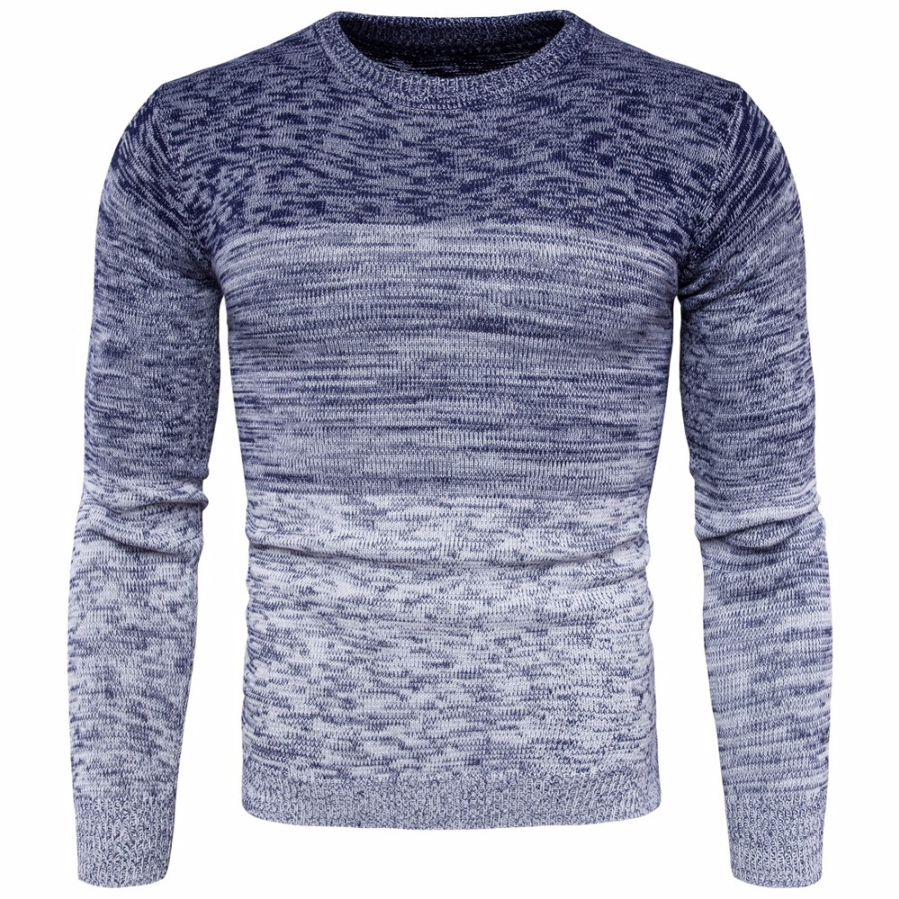 2017 New Fashion Gradient color Pullover Sweater Men O-Neck Autumn Winter Mens Casual Wo ...