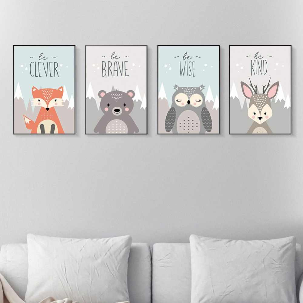 Baby Kids Room Decor Animals Fox Bear Owl Deer Canvas Painting Prints Wall Posters Nursery Home Decor Art Picture No Frame