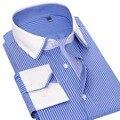 Весна Новый Белый Воротник Мужчин Бизнес Рубашки 100% Хлопок Лоскутное Полосатый Мода С Длинным Рукавом Марка Мужчины Социальный Повседневная Рубашка