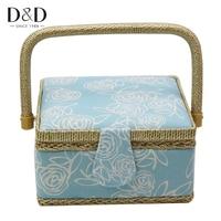 D&D Festival Gifts Handmade Wood&Cotton Fabric Storage Basket Household DIY Sewing Basket Storage Box 19*19*10cm