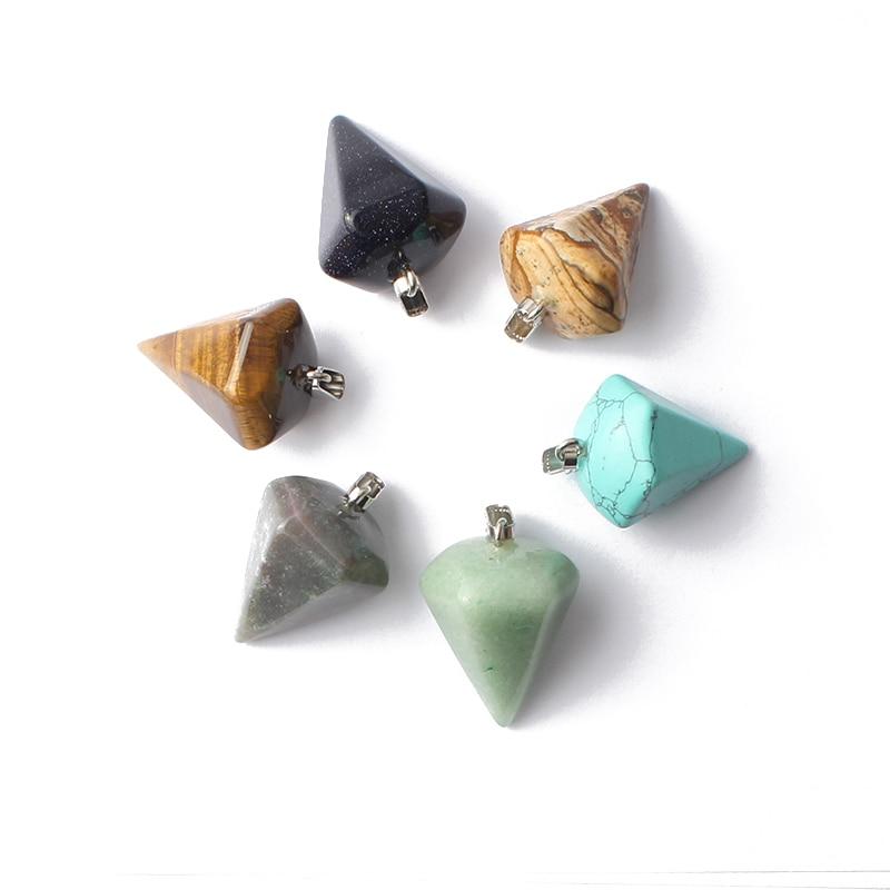 Natural Stone Necklace Pendant 34*24mm Pyramid Pendulum Pendant Agate Turquoise Picture Jasper Aventurite Stone Charms Jewelry