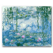 RIHE Lotus Pond Painting By Numbers Digital Sunset Sea Boat Wall Canvas Pictures Coloring For Home Artwork 40x50CM