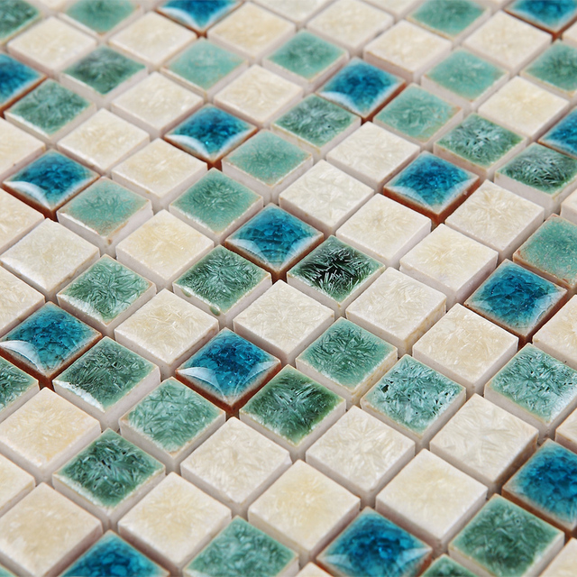 green white kiln polished porcelain ceramic tiles mosaic HMCM1047 ...