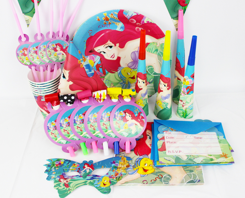 78pcs/2015 Luxury Kids Birthday Party Decoration Set Mermaid Ariel Theme Party Supplies Baby Birthday Party Pack CK-512