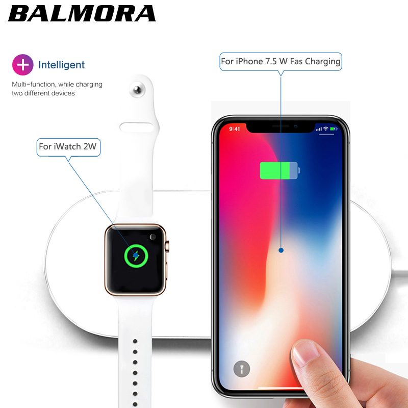 BALMORA Wireless qi Charger Pad Fast Charging For iWatch 3 2 QI Charger For Sumsang S6 S7edge S8 S8P AirPower for iphone 8plus x