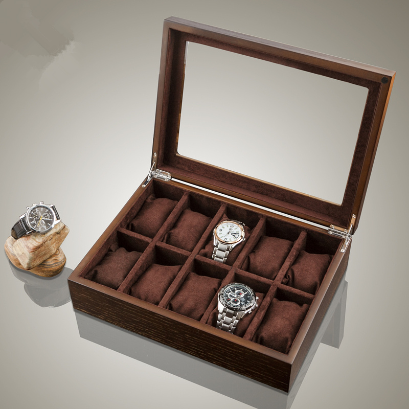 Top 10 Slots Watch Box Wood Fashion Brown Watches Storage Box With Window New Watch Display Gift Case Holder W040