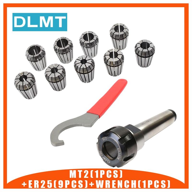 ER25 Spring Clamps 9PCS MT2 ER25 M12 1PCS Wrench 1PCS Collet Chuck Morse Holder Cone For CNC Milling Lathe Tool