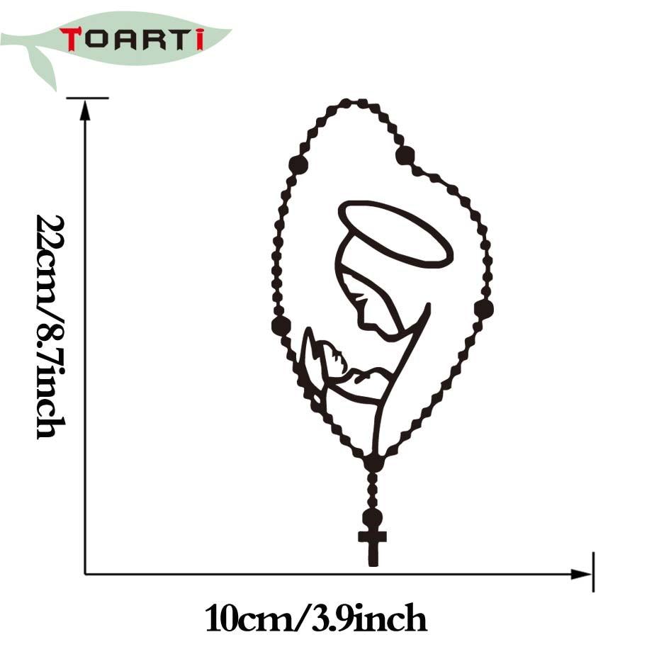 22 * 10 CM Rosary Saint Mary Fatima Virgen Bilklistermärken Avtagbar - Exteriör biltillbehör - Foto 5
