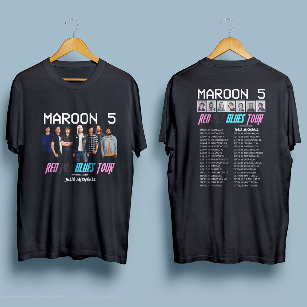 Maroon 5 Red Pill Blues Tour 2018 Mens Gildan Black T-Shirt S-XXL