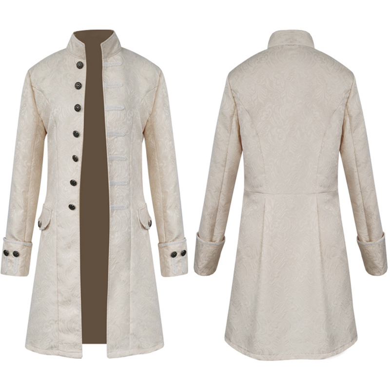 Image 4 - Men Vintage Jacquard Punk Jacket Velvet Trim Steampunk Jacket Long Sleeve Gothic Brocade Jacket Frock Uniform CoatJackets   -
