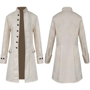 Image 4 - Veste Vintage en Jacquard pour hommes, Punk, Steampunk en velours, à manches longues, uniforme en brocart gothique, manteau