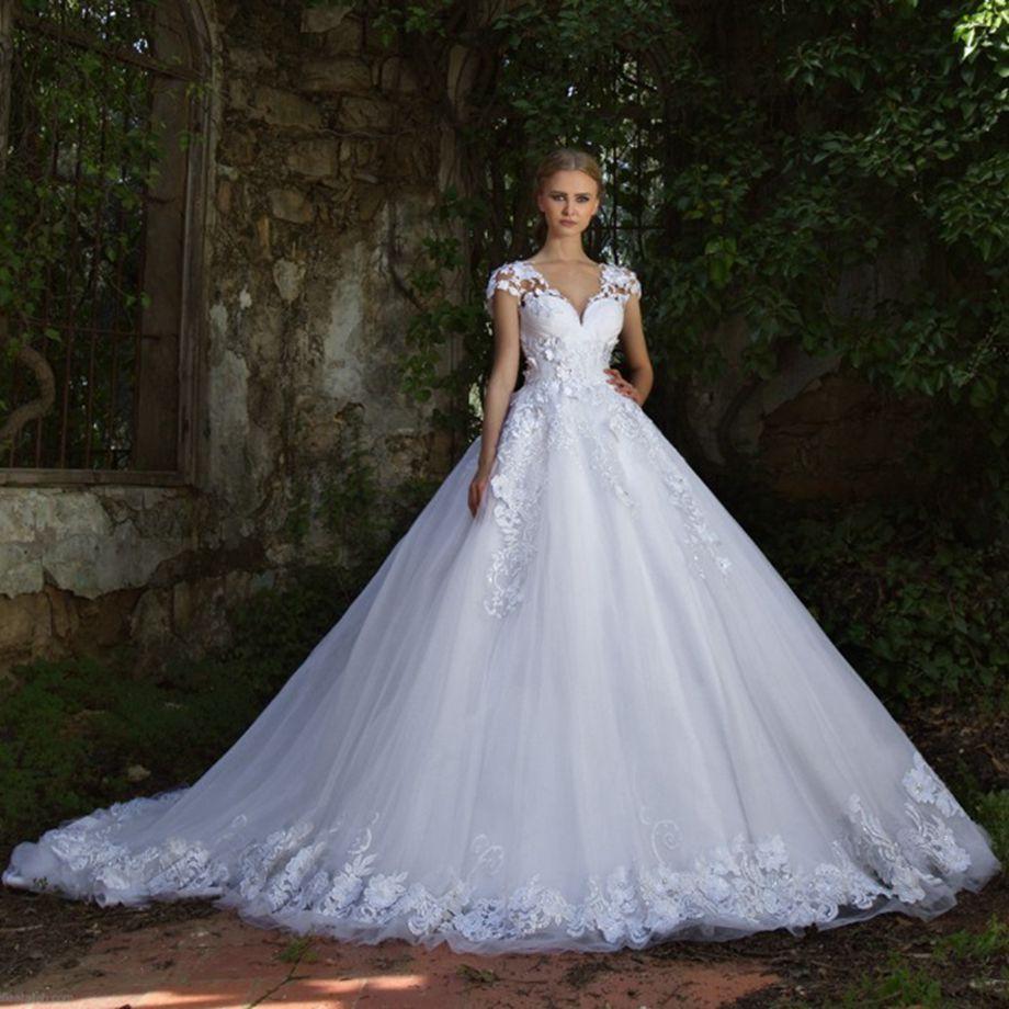 Vestido De Noiva Luxury Lace Wedding Dresses Short Sleeve