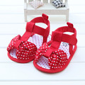 2017 Summer New Design Baby Girl Sandals Big Red Butter-knot Unique Polka Dot Sandals Hook & Loop Baby Shoes Wholes