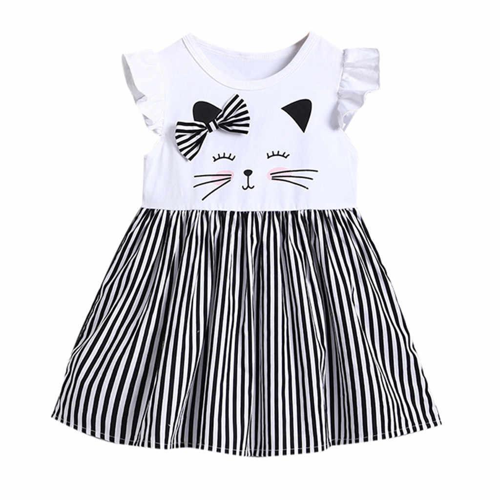 เด็กวัยหัดเดินเด็กทารกฤดูร้อน Sleeveless Cat พิมพ์ลายชุดเจ้าหญิงเสื้อผ้า vestido infantil Dropshipping # A30