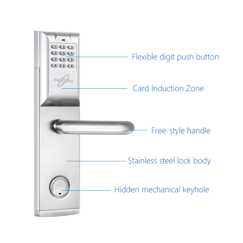 smart password door lock keypad touch screen card intelligent digital lock mechanical key. Black Bedroom Furniture Sets. Home Design Ideas
