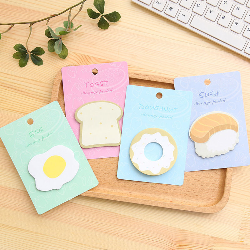 4 Pcs Cute Breakfast Doughnut Toast Poached Egg Ssushi Sticky Notes Post It Adhesive Memo Pad School Stickers Paper Bookmarks