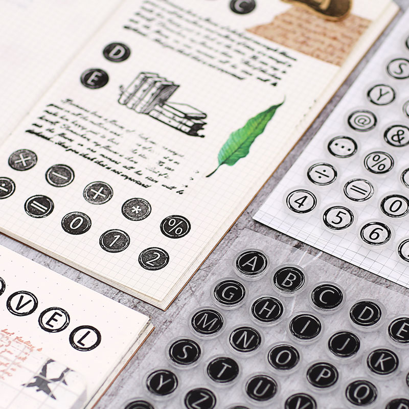 Hot Selling Silicone Transparent Seal Mottled Hand Account Alphanumeric Typewriter Retro Decoration Claire For Card Making