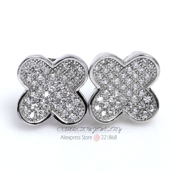 Bulk Order New Luxury Brand Four Leaf Clover Earrings For Women Letter C Earrings Real 925