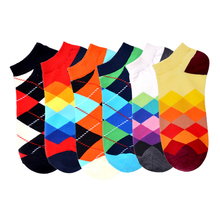 Checkerboard Happy Crew Skateboard Socks Diamond Geometry Ankle Cotton Short Summer Funny Women Men Colorful Socks Male