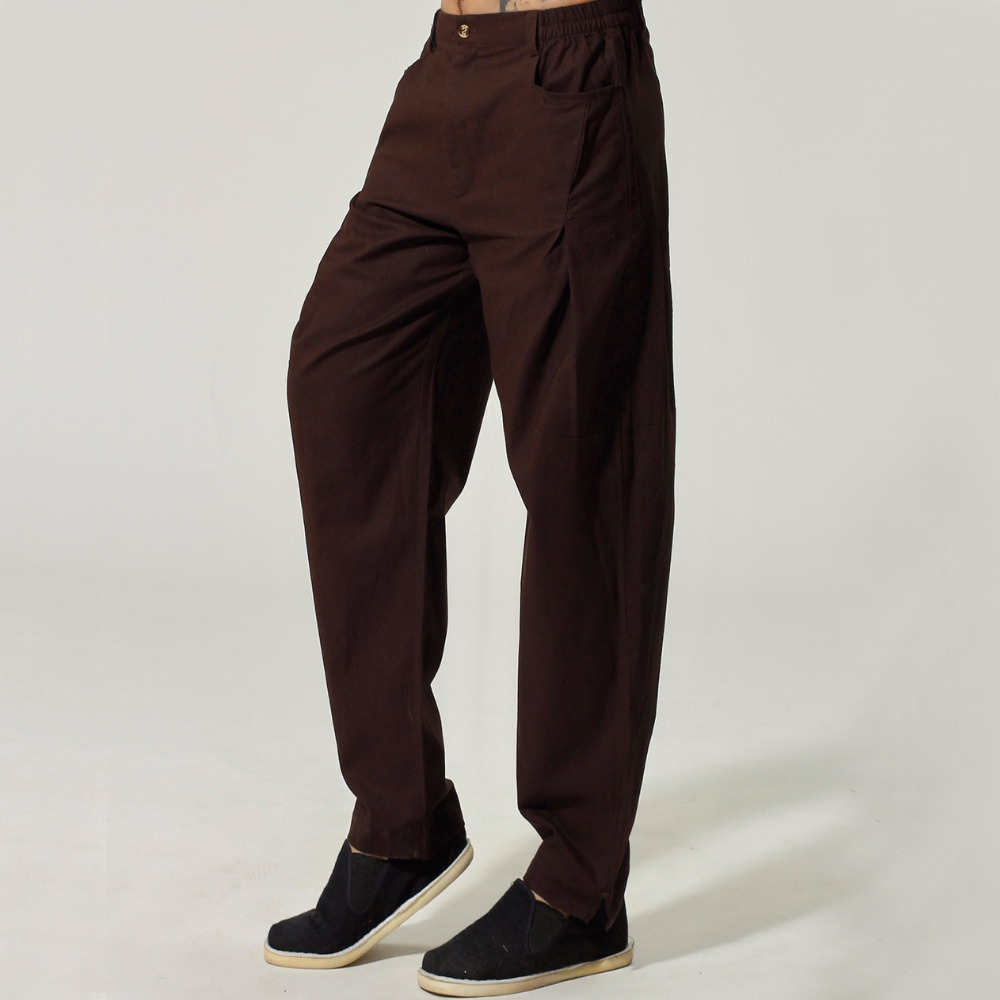 Hot Sale Brown Cotton Linen Men Chinese Kung Fu Trousers Mid Elastic Waist Straight Casual Loose Pants M L XL XXL XXXL PF019
