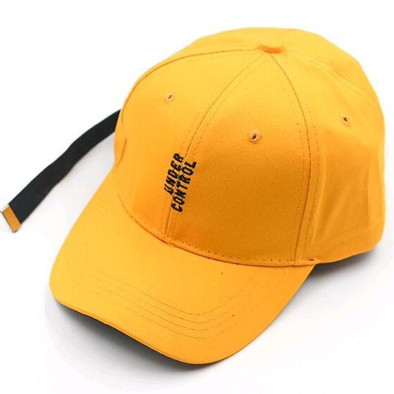 2017 New Yellow Snapback Caps Embroidery Letters Korea Style Hip Hop Caps for Men Long Strap Women girls boys Baseball Caps