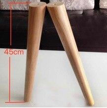 3 unids/lote H:45CM diámetro: 32 52mm sofá para mesa de té de madera maciza oblicua, patas para armario de TV