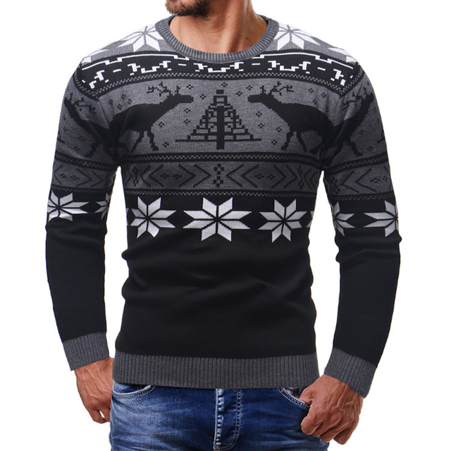Cashmere Wool Knitted Men Christmas Sweaters 2019 Slim Fit Deer Snow Pint Pullovers Male Round Neck Striped Knitwear Streetwear