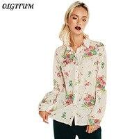2017 Autumn New Style Retro Dignified And Elegant Women Print Chiffon Shirt Classic Style Slim Lapel
