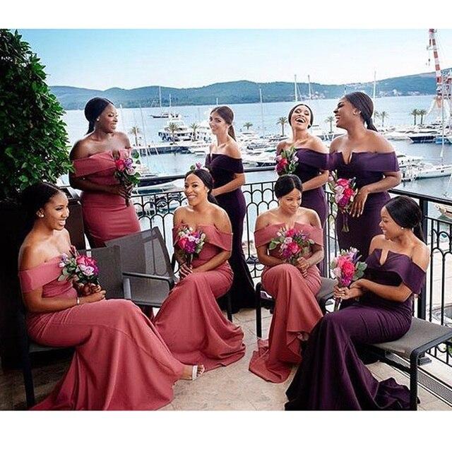 Long Mermaid Bridesmaid Gaun Seksi Off Bahu Ukuran Lantai Panjang  Pernikahan Tamu Prom Formal Pakaian Pesta bf14bf0d1335