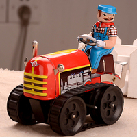 Classic Farm Tractor Tinwork Toys Retro Wind Up Toys For Collection Vintage Handmade Crafts Toys